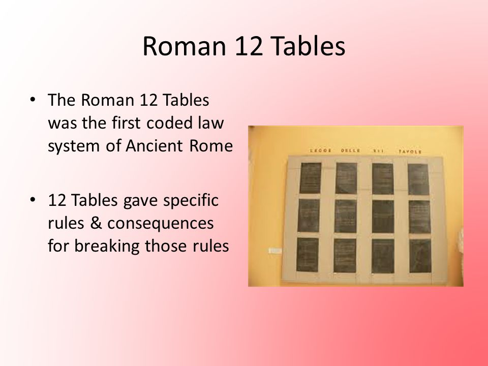 Roman 12 Tables The Roman 12 Tables was the first coded law system of Ancient Rome 12 Tables gave specific rules & consequences for breaking those rul