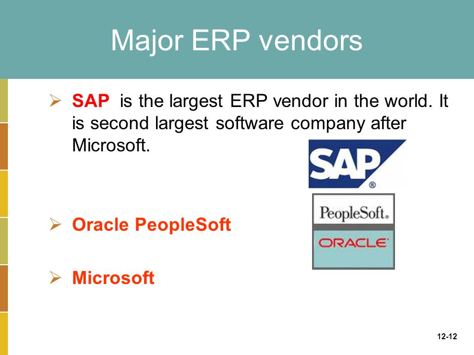 12-12 Major ERP vendors  SAP is the largest ERP vendor in the world.