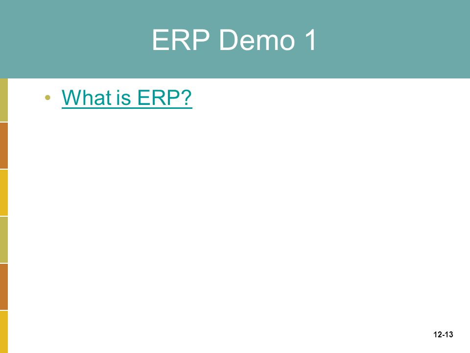 12-13 ERP Demo 1 What is ERP?