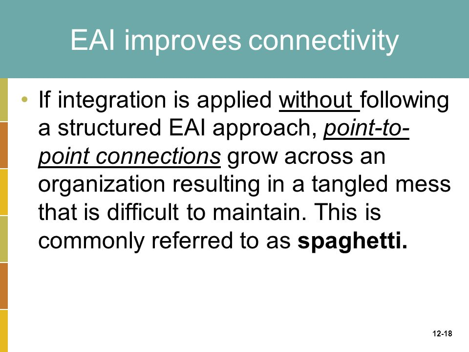12-18 EAI improves connectivity If integration is applied without following a structured EAI approach, point-to- point connections grow across an organization resulting in a tangled mess that is difficult to maintain.