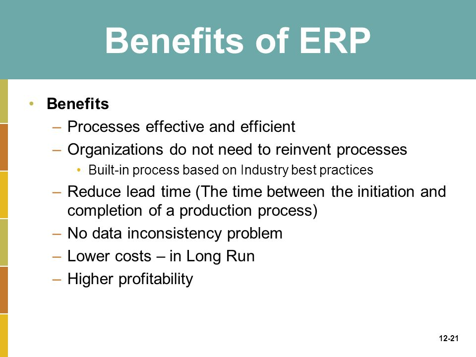 12-21 Benefits of ERP Benefits –Processes effective and efficient –Organizations do not need to reinvent processes Built-in process based on Industry best practices –Reduce lead time (The time between the initiation and completion of a production process) –No data inconsistency problem –Lower costs – in Long Run –Higher profitability