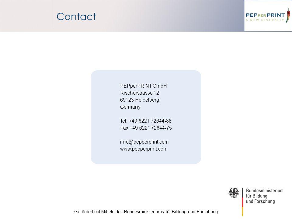 Contact PEPperPRINT GmbH Rischerstrasse 12 69123 Heidelberg Germany Tel.