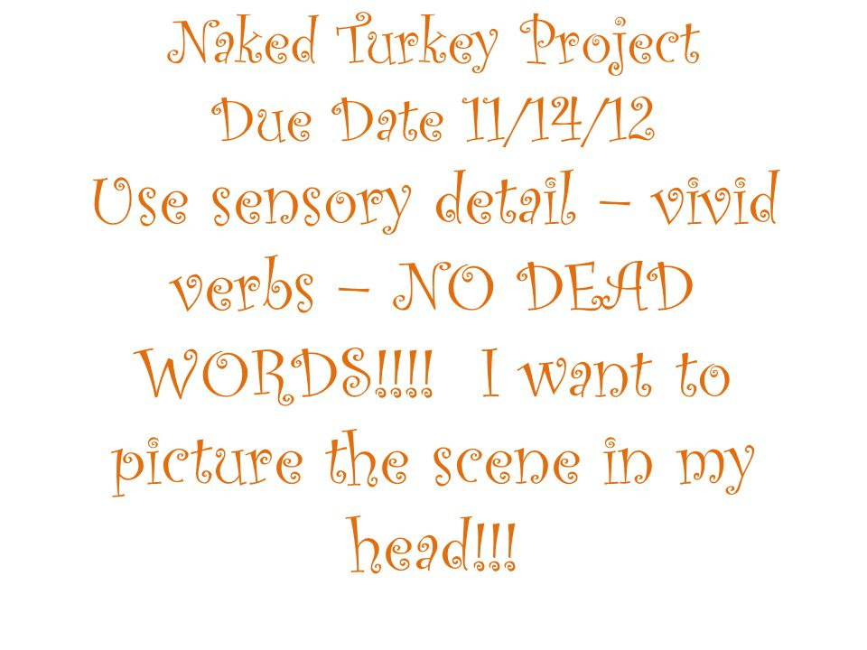 Naked Turkey Project Due Date 11/14/12 Use sensory detail – vivid verbs – NO DEAD WORDS!!!.