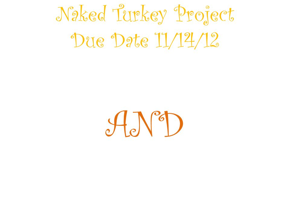 Naked Turkey Project Due Date 11/14/12 AND