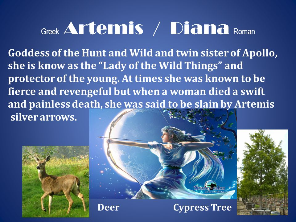 """Greek Artemis / Diana Roman Goddess of the Hunt and Wild and twin sister of Apollo, she is know as the """"Lady of the Wild Things"""" and protector of the"""