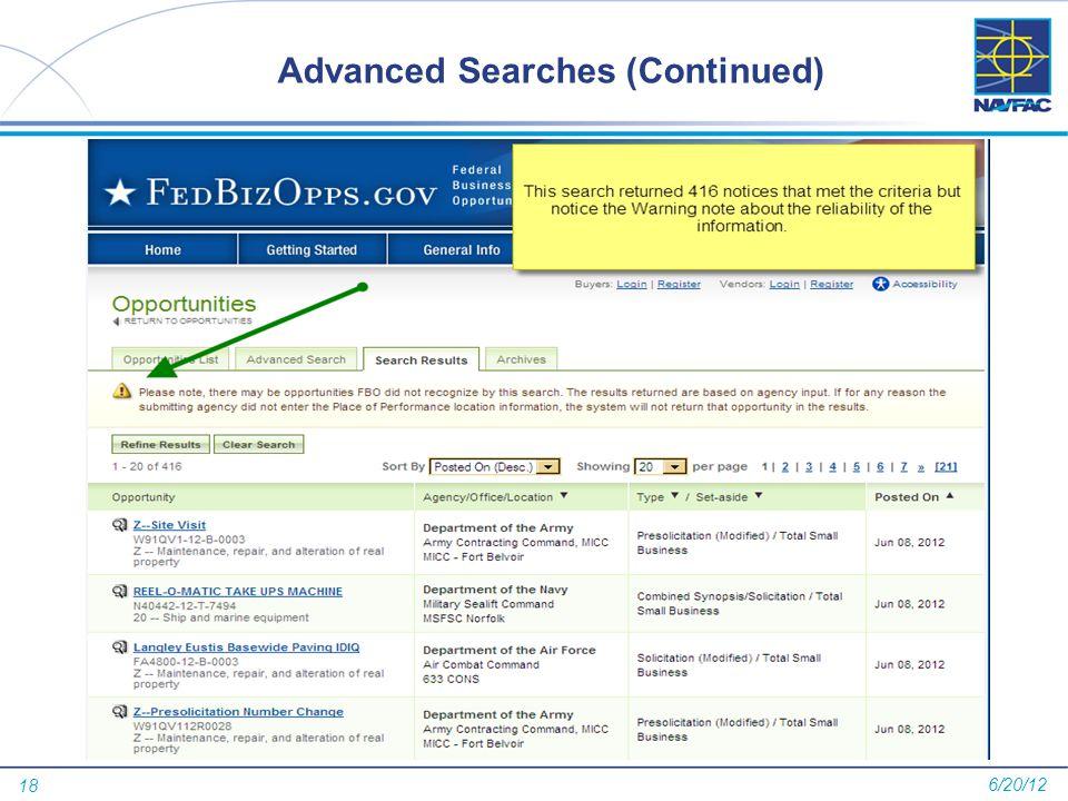 18 Advanced Searches (Continued) 6/20/12