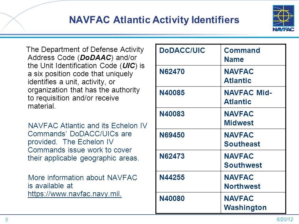 5 NAVFAC Atlantic Activity Identifiers The Department of Defense Activity Address Code (DoDAAC) and/or the Unit Identification Code (UIC) is a six pos