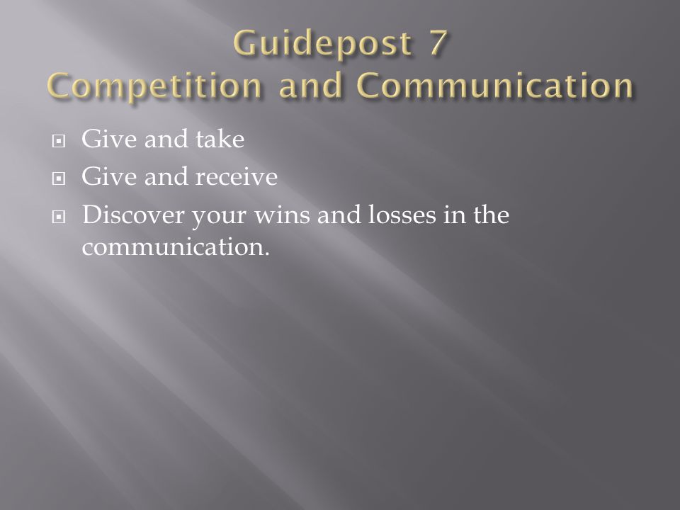  Give and take  Give and receive  Discover your wins and losses in the communication.