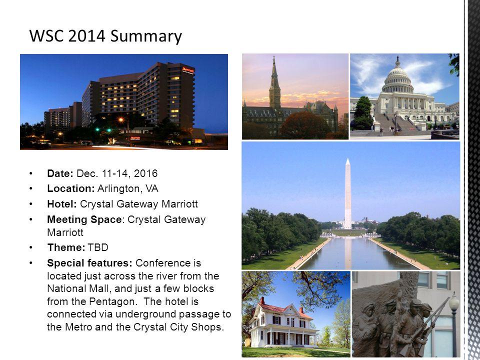 Date: Dec. 11-14, 2016 Location: Arlington, VA Hotel: Crystal Gateway Marriott Meeting Space: Crystal Gateway Marriott Theme: TBD Special features: Co