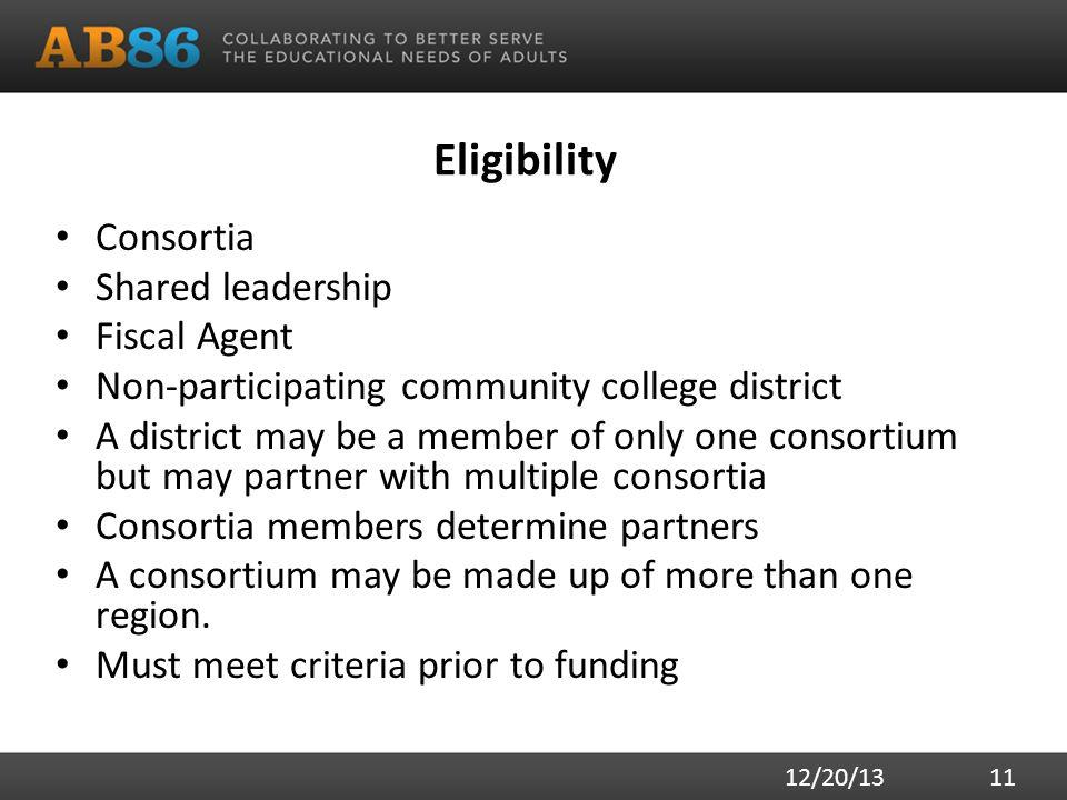 Eligibility Consortia Shared leadership Fiscal Agent Non-participating community college district A district may be a member of only one consortium bu