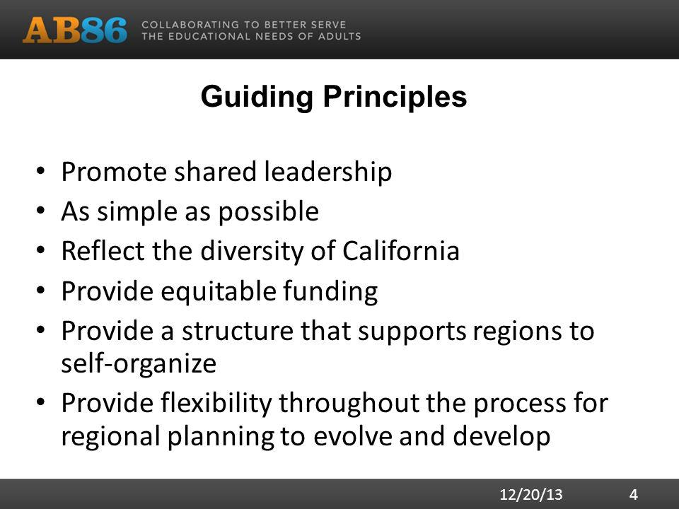 Guiding Principles Promote shared leadership As simple as possible Reflect the diversity of California Provide equitable funding Provide a structure t