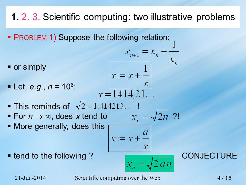 21-Jun-2014Scientific computing over the Web4 / 15 1. 2. 3. Scientific computing: two illustrative problems  P ROBLEM 1) Suppose the following relati