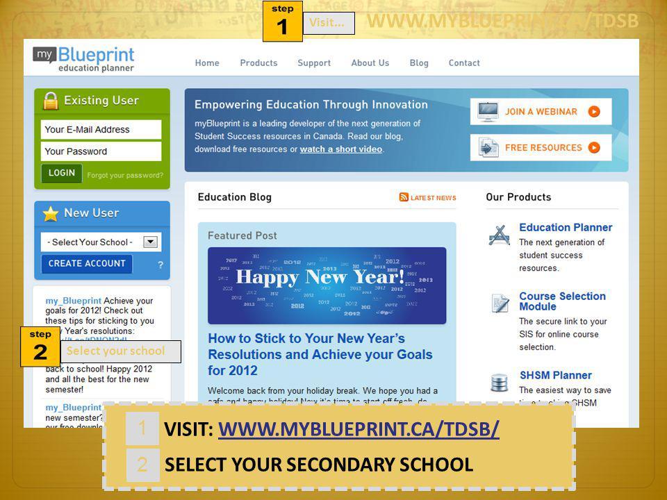 VISIT: WWW.MYBLUEPRINT.CA/TDSB/ 2 SELECT YOUR SECONDARY SCHOOL 1 WWW.MYBLUEPRINT.CA/TDSB Visit...