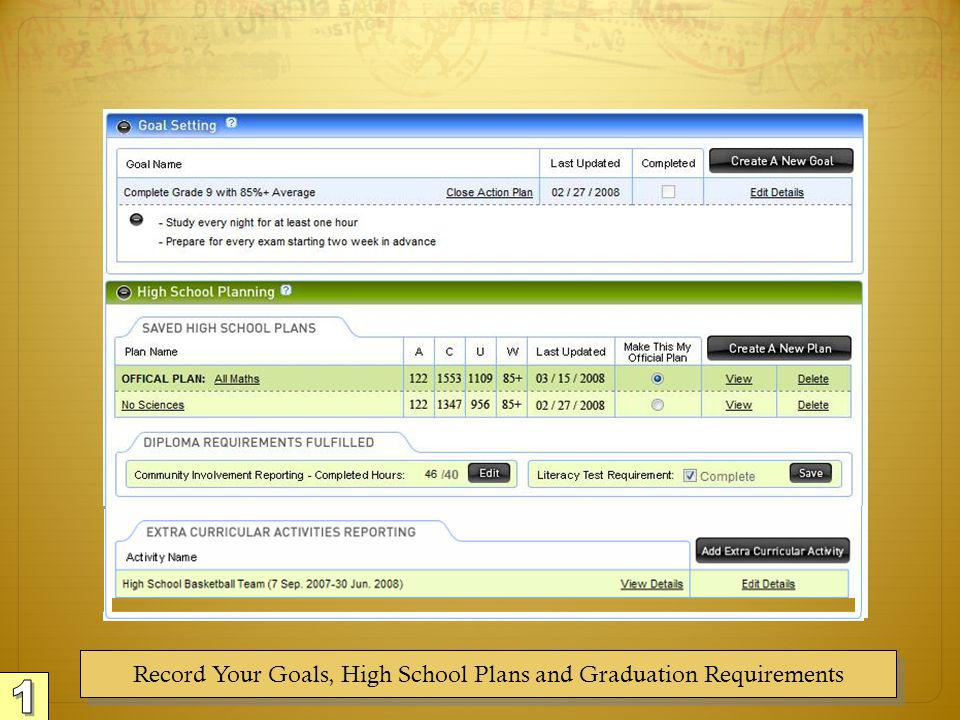 Record Your Goals, High School Plans and Graduation Requirements