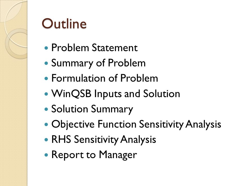 Outline Problem Statement Summary of Problem Formulation of Problem WinQSB Inputs and Solution Solution Summary Objective Function Sensitivity Analysis RHS Sensitivity Analysis Report to Manager