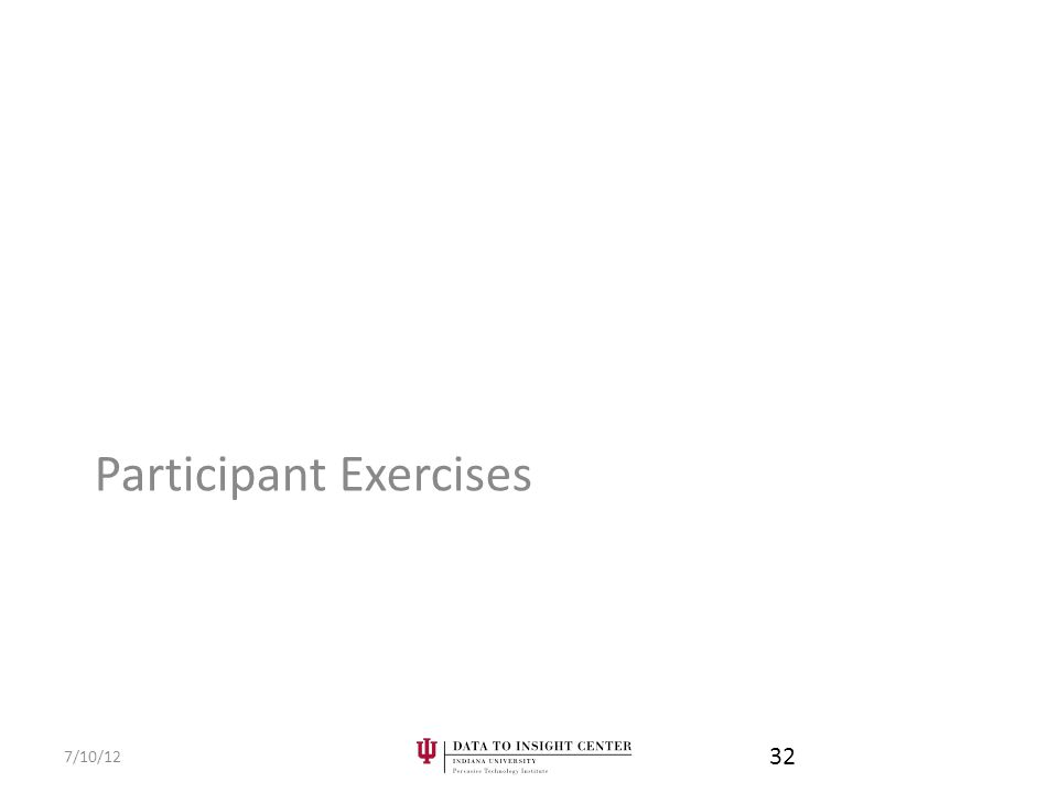 Participant Exercises 7/10/12 32