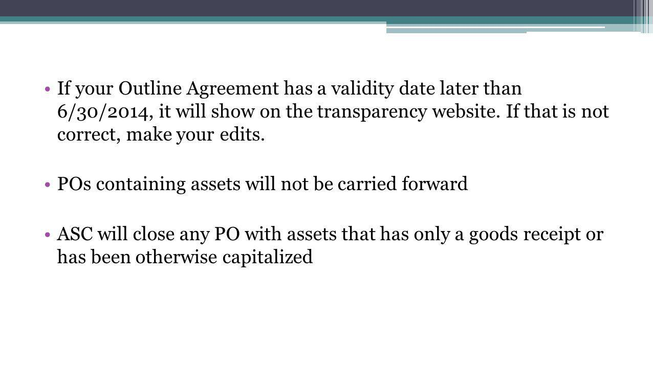 If your Outline Agreement has a validity date later than 6/30/2014, it will show on the transparency website.