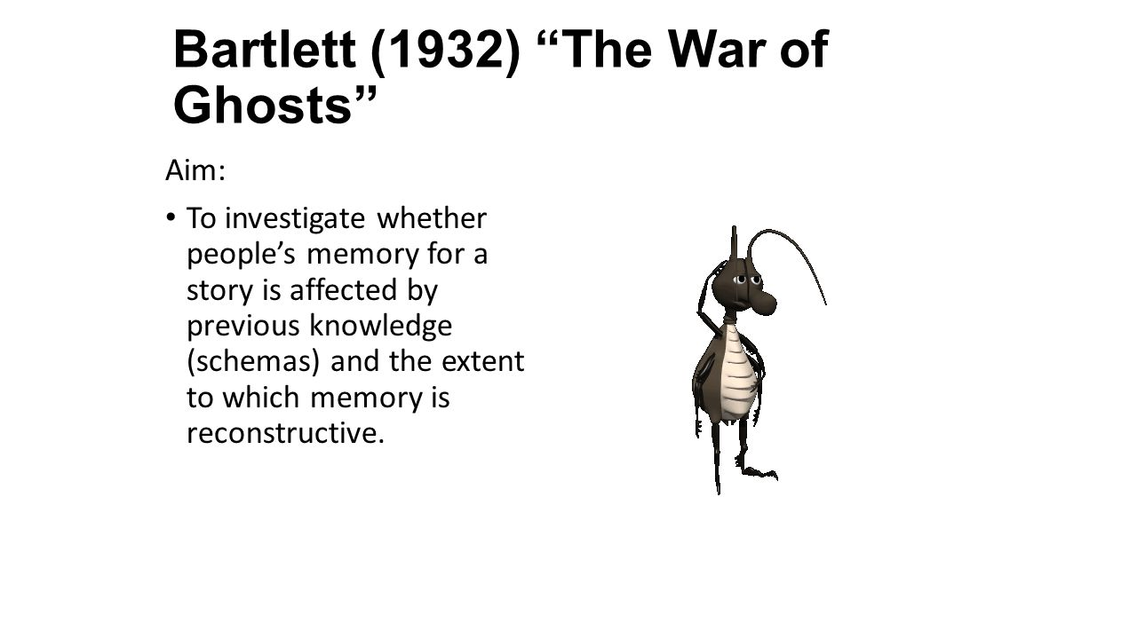 Bartlett (1932) The War of Ghosts Aim: To investigate whether people's memory for a story is affected by previous knowledge (schemas) and the extent to which memory is reconstructive.