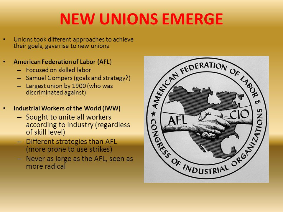 NEW UNIONS EMERGE Unions took different approaches to achieve their goals, gave rise to new unions American Federation of Labor (AFL) – Focused on ski