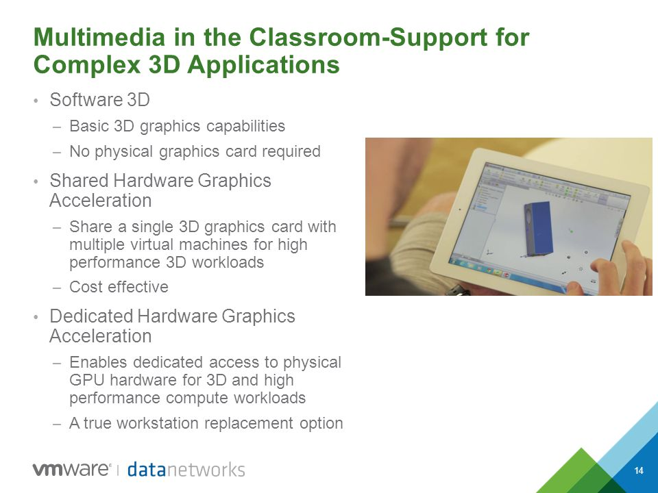 14 Multimedia in the Classroom-Support for Complex 3D Applications Software 3D – Basic 3D graphics capabilities – No physical graphics card required S