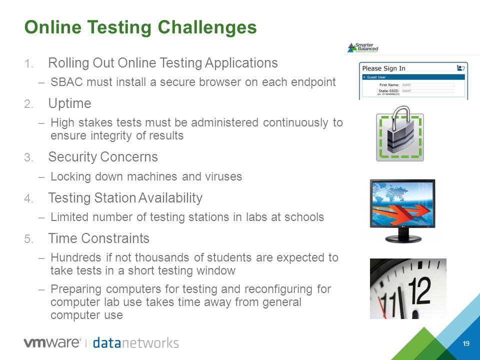 19 Online Testing Challenges 1. Rolling Out Online Testing Applications – SBAC must install a secure browser on each endpoint 2. Uptime – High stakes
