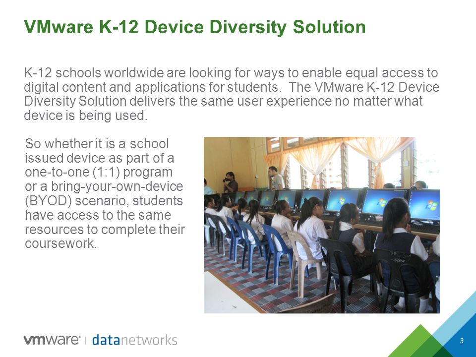 3 VMware K-12 Device Diversity Solution K-12 schools worldwide are looking for ways to enable equal access to digital content and applications for stu