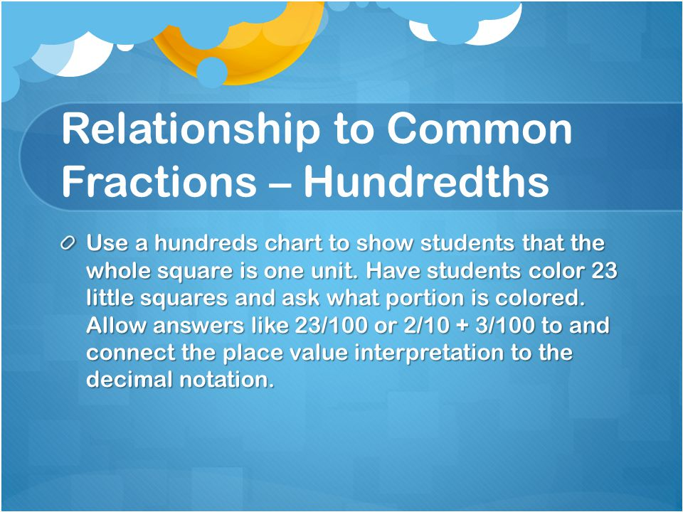 Relationship to Common Fractions – Hundredths Use a hundreds chart to show students that the whole square is one unit. Have students color 23 little s
