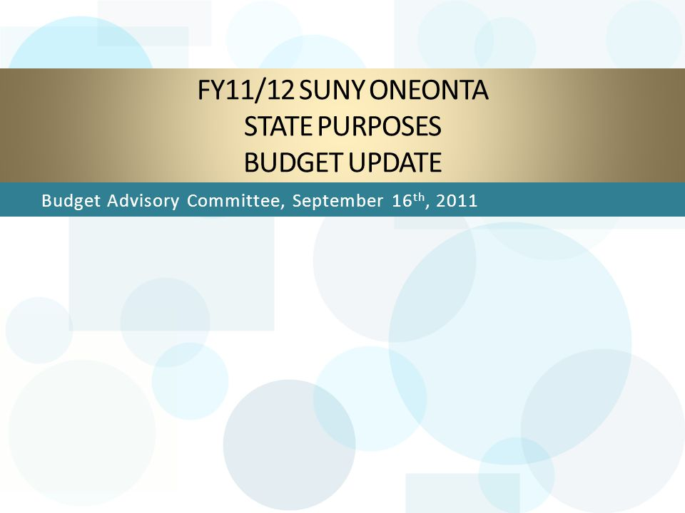 FY11/12 Budget Context: NYS Budget FY11/12 State Budget Deficit: $10.0 billion FY11/12 State Budget cuts & other actions addressed this deficit SUNY State-Ops' net share of Executive State Budget cuts: $131.4 million Current Out-year State Budget Deficit Projections (as of 6/30/11) : FY12/13: $2.4 billion FY13/14: $2.8 billion FY14/15: $4.6 billion 9/16/2011BAC Budget Update