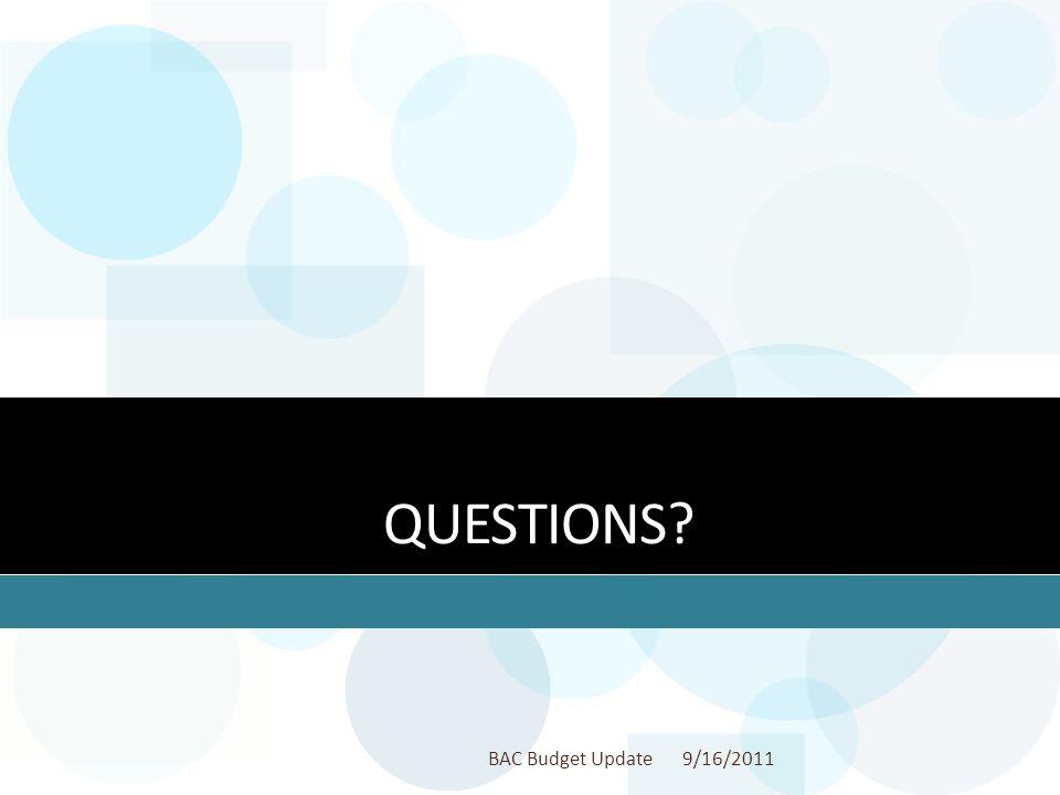 QUESTIONS? 9/16/2011BAC Budget Update