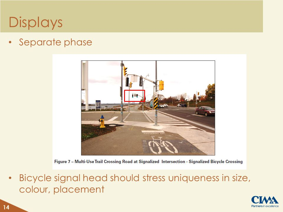Displays Separate phase Bicycle signal head should stress uniqueness in size, colour, placement 14