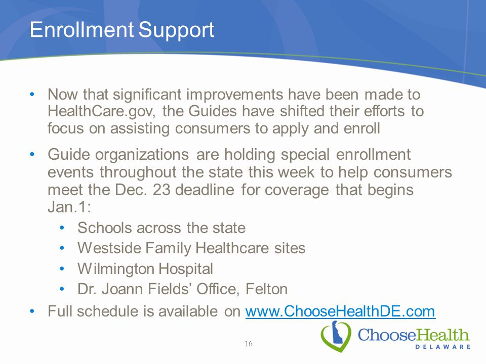 Enrollment Support Now that significant improvements have been made to HealthCare.gov, the Guides have shifted their efforts to focus on assisting con
