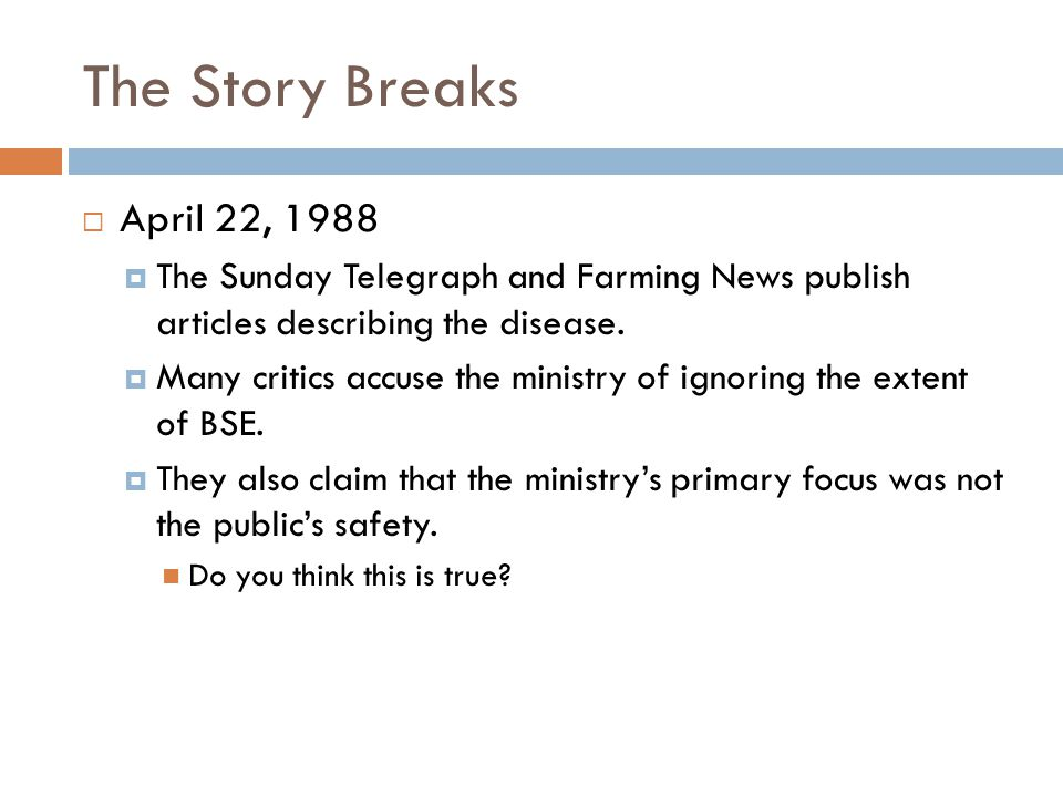 The Story Breaks  April 22, 1988  The Sunday Telegraph and Farming News publish articles describing the disease.