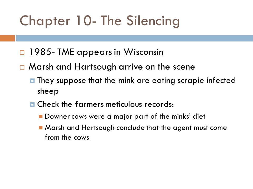 Chapter 10- The Silencing  1985- TME appears in Wisconsin  Marsh and Hartsough arrive on the scene  They suppose that the mink are eating scrapie infected sheep  Check the farmers meticulous records: Downer cows were a major part of the minks' diet Marsh and Hartsough conclude that the agent must come from the cows