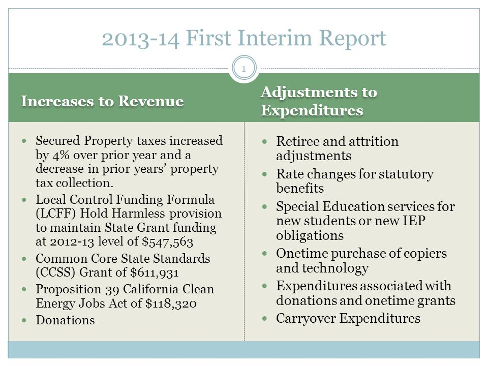 Increases to Revenue Adjustments to Expenditures Secured Property taxes increased by 4% over prior year and a decrease in prior years' property tax collection.