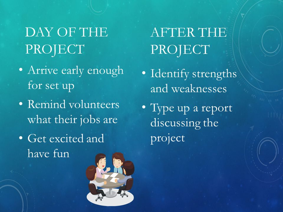 AFTER THE PROJECT Arrive early enough for set up Remind volunteers what their jobs are Get excited and have fun Identify strengths and weaknesses Type up a report discussing the project DAY OF THE PROJECT