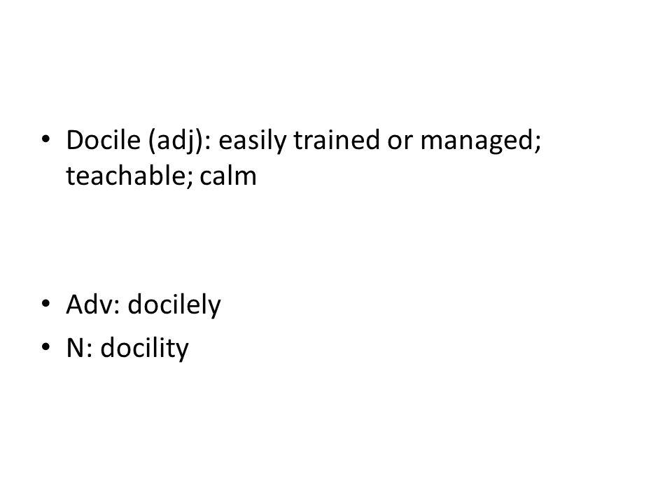 Docile (adj): easily trained or managed; teachable; calm Adv: docilely N: docility