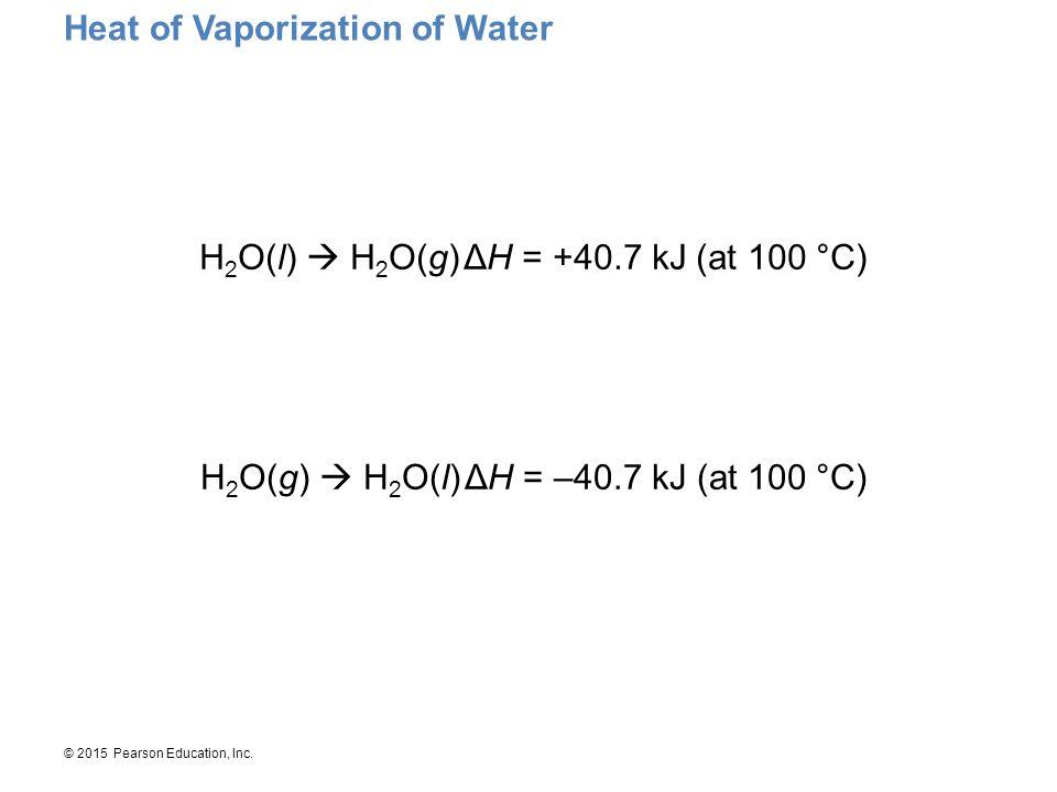 © 2015 Pearson Education, Inc. Heat of Vaporization of Water H 2 O(l)  H 2 O(g)ΔH = +40.7 kJ (at 100 °C) H 2 O(g)  H 2 O(l)ΔH = –40.7 kJ (at 100 °C)