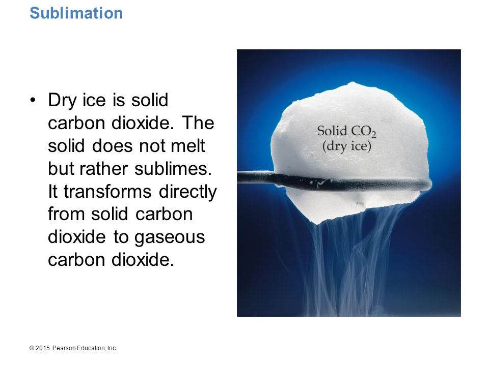 © 2015 Pearson Education, Inc. Dry ice is solid carbon dioxide. The solid does not melt but rather sublimes. It transforms directly from solid carbon