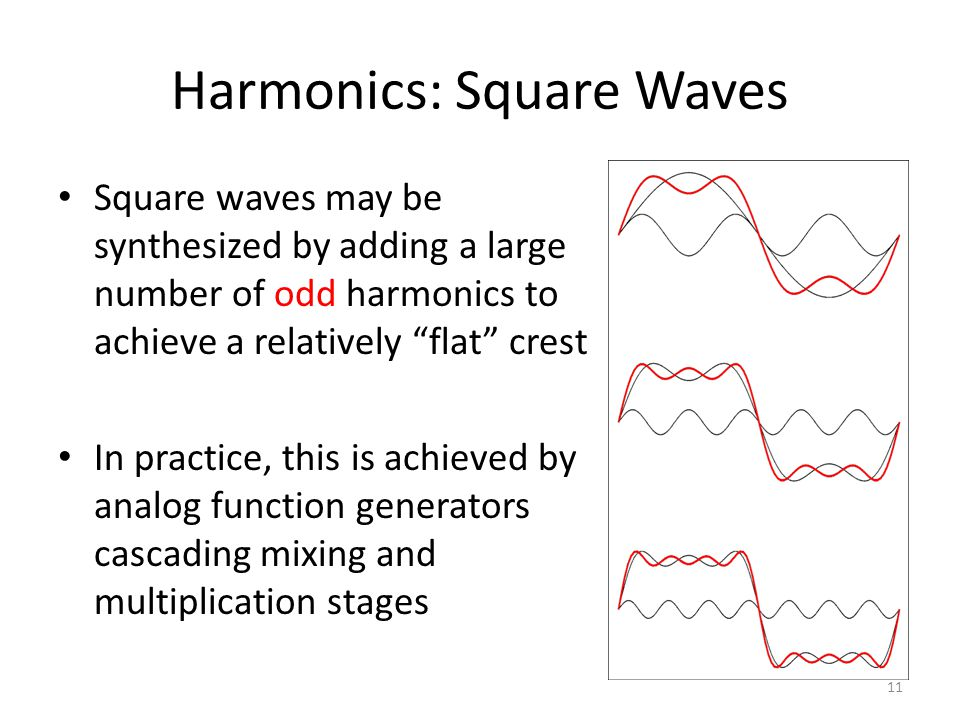 Harmonics: Square Waves Square waves may be synthesized by adding a large number of odd harmonics to achieve a relatively flat crest In practice, this is achieved by analog function generators cascading mixing and multiplication stages 11