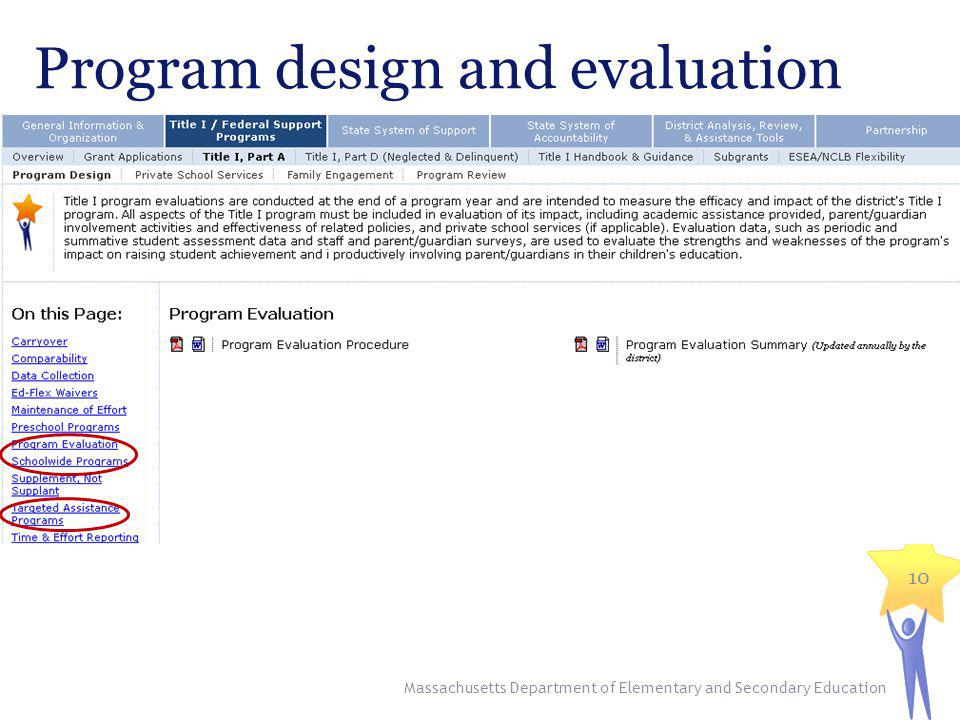 Program design and evaluation Massachusetts Department of Elementary and Secondary Education 10