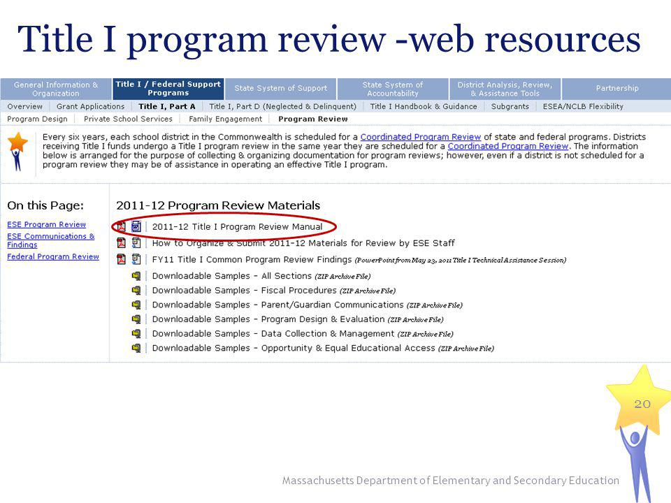 Title I program review -web resources 20 Massachusetts Department of Elementary and Secondary Education