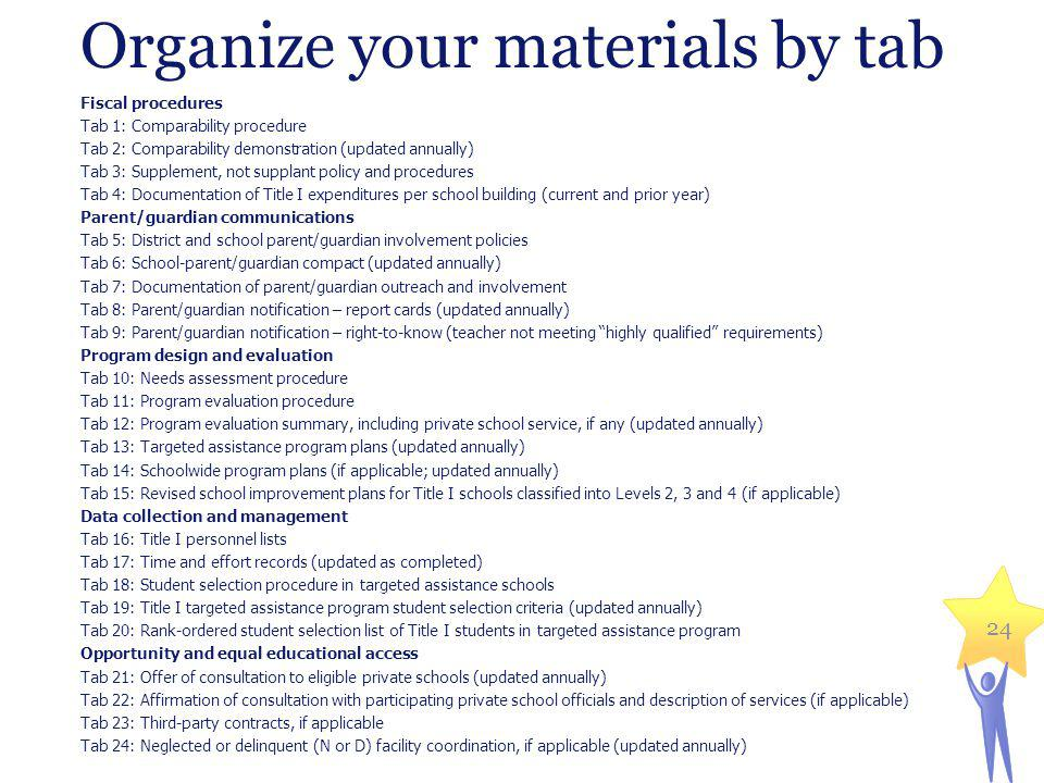 Organize your materials by tab Fiscal procedures Tab 1: Comparability procedure Tab 2: Comparability demonstration (updated annually) Tab 3: Supplemen