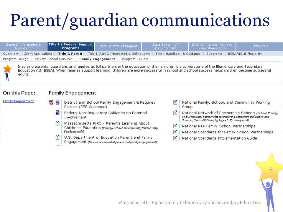 Parent/guardian communications Massachusetts Department of Elementary and Secondary Education 8