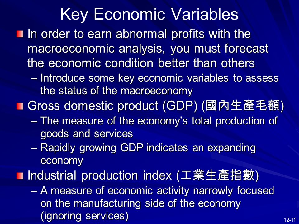 12-11 Key Economic Variables In order to earn abnormal profits with the macroeconomic analysis, you must forecast the economic condition better than others –Introduce some key economic variables to assess the status of the macroeconomy Gross domestic product (GDP) ( 國內生產毛額 ) –The measure of the economy's total production of goods and services –Rapidly growing GDP indicates an expanding economy Industrial production index ( 工業生產指數 ) –A measure of economic activity narrowly focused on the manufacturing side of the economy (ignoring services)