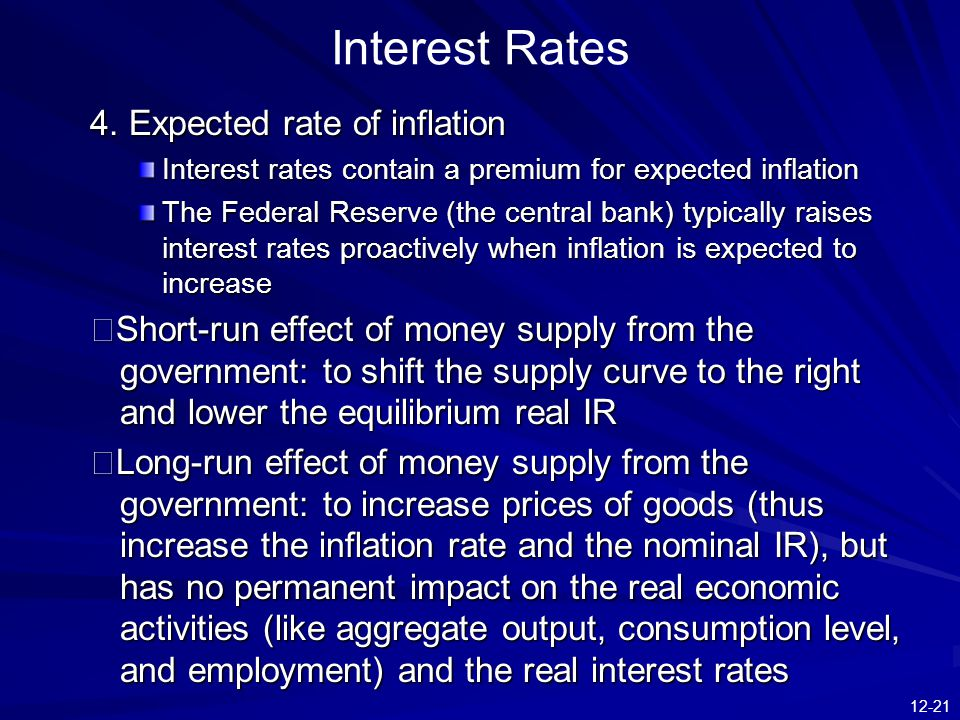 12-21 Interest Rates 4. Expected rate of inflation Interest rates contain a premium for expected inflation The Federal Reserve (the central bank) typi