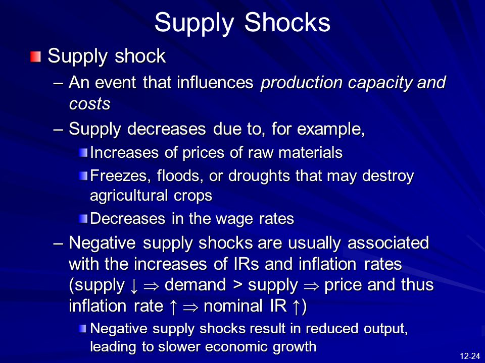 12-24 Supply Shocks Supply shock –An event that influences production capacity and costs –Supply decreases due to, for example, Increases of prices of raw materials Freezes, floods, or droughts that may destroy agricultural crops Decreases in the wage rates –Negative supply shocks are usually associated with the increases of IRs and inflation rates (supply ↓  demand > supply  price and thus inflation rate ↑  nominal IR ↑) Negative supply shocks result in reduced output, leading to slower economic growth