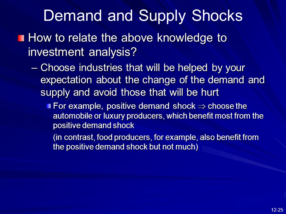 12-25 Demand and Supply Shocks How to relate the above knowledge to investment analysis? –Choose industries that will be helped by your expectation ab