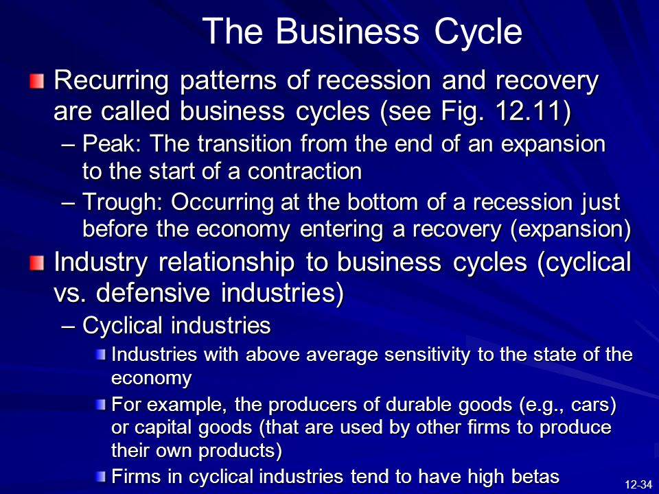 12-34 The Business Cycle Recurring patterns of recession and recovery are called business cycles (see Fig.