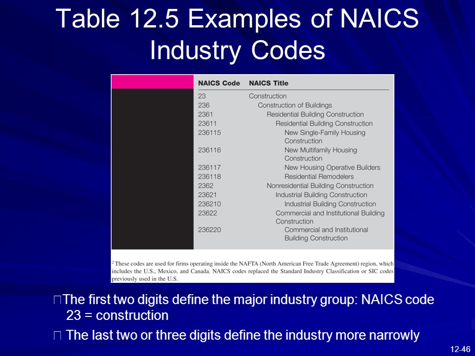 12-46 Table 12.5 Examples of NAICS Industry Codes ※ The first two digits define the major industry group: NAICS code 23 = construction ※ The last two or three digits define the industry more narrowly