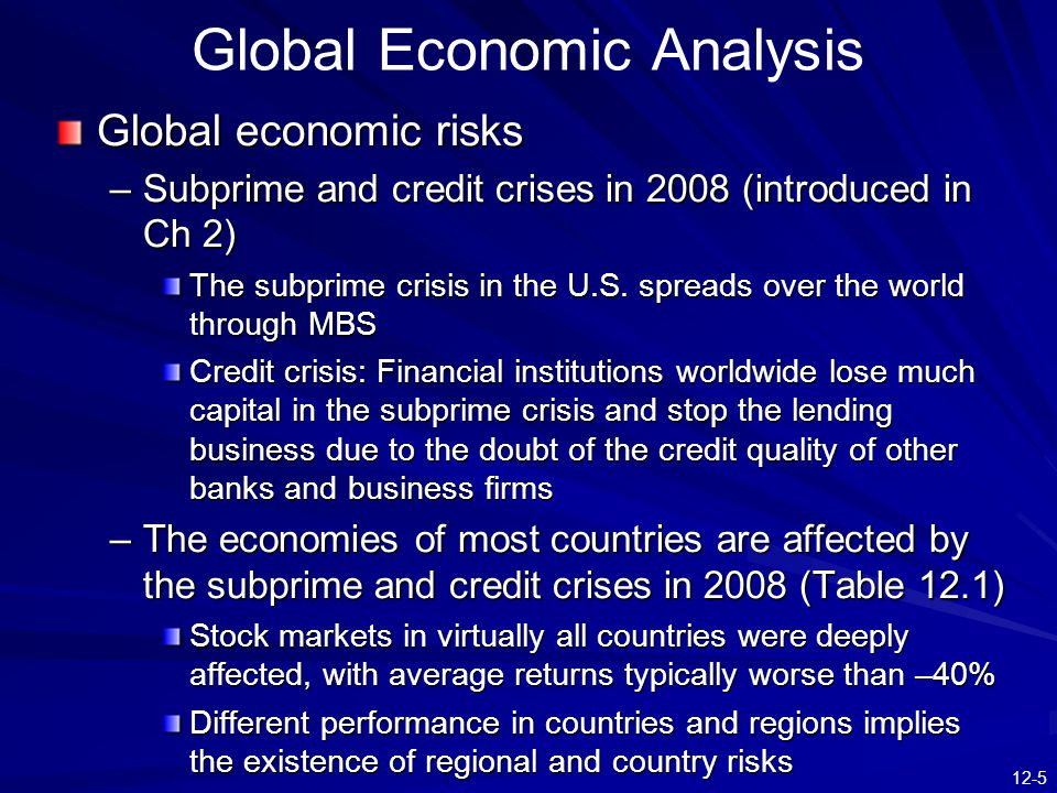 12-5 Global Economic Analysis Global economic risks –Subprime and credit crises in 2008 (introduced in Ch 2) The subprime crisis in the U.S.